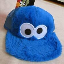 SESAME STREET Cookie Monster Fuzzy Plush Skater Baseball Hat Cap Boys One Size