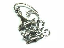 .925 Sterling Silver 2 Two Birds in Birdhouse Ornate Pin / Brooch - Signed LANG