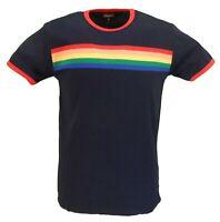 Mens Navy Retro Mod 60s Indie Rainbow Striped Cotton T Shirt
