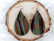 Teardrop genuine leather Boho earrings