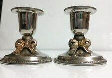 "2) Vintage Silverplate w/Gold Tone Bow 2 3/4"" Candlesticks Taper Candle Holders"