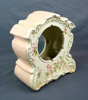 "Antique 19th C Porcelain Floral Painted Mantle Clock Case 4.75"" Dia Movement"