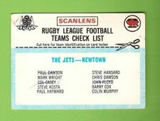 Checklist Newtown Jets NRL & Rugby League Trading Cards