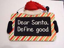 Wood Dear Santa Define Good Santa Hat Sign Christmas Decoration Holiday