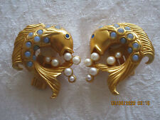 Vintage Elizabeth Taylor Avon Earrings Koi Fish Sea Shimmer Collection Gold Tone