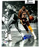 **PSA COA**Magic Johnson Autograph Signed Picture with Kareem Abdul-Jabbar