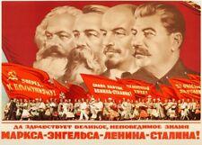 """La propagande russe Affiche """"Marx, Friedrich Engels, Lénine, Staline"""" constructivisme"""