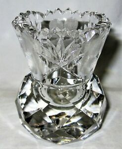 """Discontinued Waterford ? Shamrock Pattern Toothpick Holder 2.5"""" Cut Crystal"""