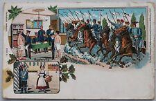 3425 Litho AK Musterung Husaren zu Pferde in Uniform Großenhain 1909 Litho