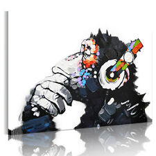 Canvas Prints Ready To Hang Wall Art Painting-Abstract Dj Monkey Chimp Framed