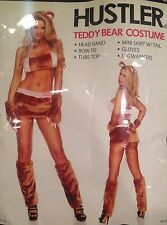 Hustler Teddy Bear Costume Halloween Faux Fur Sexy 8 Pc Brown Pink M/L New