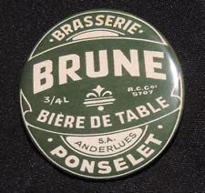 Pin Button Badge Ø38mm (bière de table) Brasserie PONSELET Brune  ( ANDERLUES )