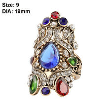 Size 7 8 9 10 Turkish Jewelry Women Gold Plated Crystal Wedding Big Crown Rings 9