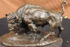 Large Bronze American Buffalo Sculpture Figure on Marble Base Signed Carl Kauba