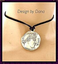 Roman Coin-Paz--Statement-Choker-Ant. Silver-Suede Cord-Coin Pendent-Necklace