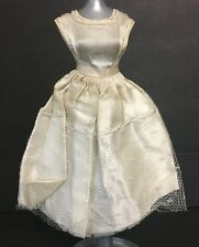 Vintage Barbie Doll Clone Off White Dress Wedding Gown Mesh Overlay