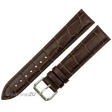 20mm Alligator Crocodile Croco Grain Genuine Leather Watch Band Strap Brown a11