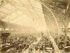 Paris, Exposition Universelle 1889. Salle des Machines vintage albumen print.