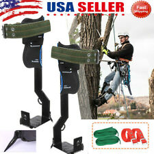 Tree Climbing Spike Set Safety Belt W/Gear Adjustable Lanyard Rope Rescue Belt