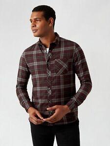 BURTON MENSWEAR LONDON Mens Purple Long Sleeve Check Shirts Top Long Sleeve