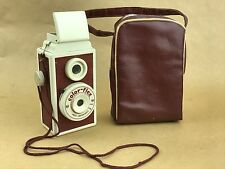 Color-Flex Vintage 127 TLR film Camera Burgundy Leather - Rare Collectible