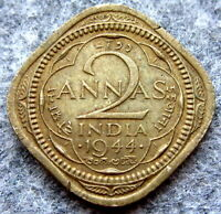 INDIA BRITISH GEORGE VI 1944 2 ANNAS, BOMBAY MINT