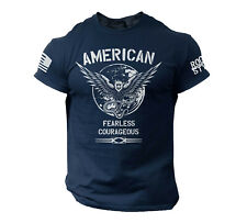 USA Warrior Shirt American Flag Fearless Soldier Military Style T Shirt