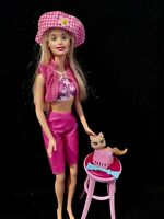 1999 Mattel Barbie Doll with Pink Vest, Capris, Hat, Stool and Kitty Cat Pet