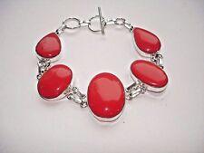 "AB Red Coral 5-Gem Bracelet Wrist Chain Silver 8-8.5"" Wardrobe Essential"