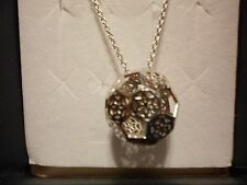 "Sterling Silver 925 Necklace with Open Ball Pendant-16"" w/2"" extender"