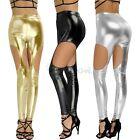 Women Casual Skinny Leggings Stretchy Pants Cutout PU Leather Pencil Leggings