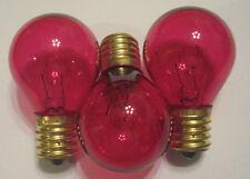 3 Transparent Pink Marquee/Sign/Amusement Park/Party/Patio Light Bulbs E17 Base