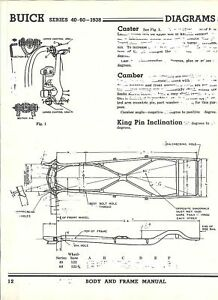 1938 Buick Series 40 60 NOS Frame Dimensions Align Spec