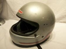 Vintage 1985 Silver Vetter Fiber 100 Motorcycle Cycle Snowmobile Helmet  Sz M?