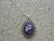 STUNNING PURPLE BUTTERFLY CAMEO PENDANT NECKLACE!!  SILVER !!! QUALITY!!!!!!