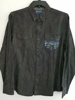 American Rag Cie Mens Black Wash Long Sleeve Woven Snap Button Down Shirt
