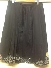 Womans Modern Classic Size 16Black Skirt with Embroidered Cut Out Hem