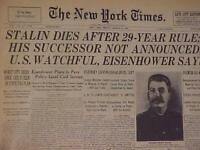 VINTAGE NEWSPAPER HEADLINE~SOVIET UNION RULER STALIN RUSSIAN PRESIDENT DIES 1953