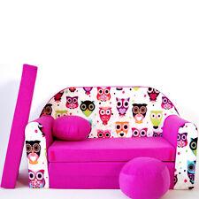 H17 Minicouch Kindersofa Spielsofa Set Sitzkissen Matratze (rosa Eulen)