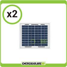 Stock  2 Pannelli Solari Fotovoltaici Policristallino da 5W casa, camper nautica