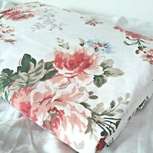 Ralph Lauren Petticoat White Floral Twin Size Flat Sheet 100% Cotton made in USA