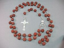 Rosary BRICK RED Rose Beads Silver Tone Crucifix Chain Necklace LOW STOCK!!