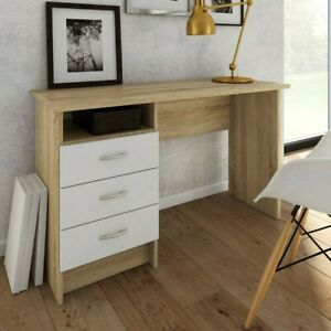 """Tvilum"" Medium PC Computer Desk Table With 3 drawers  Oak & White Finish"
