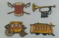 Vintage Homco Sexton 576 lot Wall Decor Streetcar Stagecoach Drum Bugle 1975