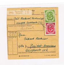 Federal Posthorn Michel Number 130 And 138 IN Mif on Parcel Registration Card