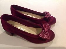 Juicy Couture New Purple Satin Leather Party Shoes Girls Size 12 (EU 31 US 13)