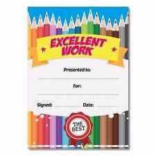 Excellent work, colourful school teachers kids reward certificates A6 qty16