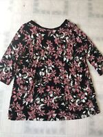 J. Jill XL Wearever Collection Tunic Pink Hibiscus Floral Print 3/4 Sleeve