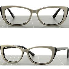 Women's Cat Eye Plastic Frame Stylish RX Prescription Glasses Spring Hinge White