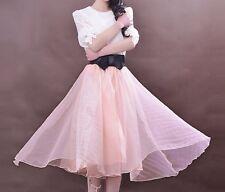 Hermoso Grisáceo Rosa Rosa Negro Lazo de Satén Tul Organza Swing Midi Falda D103
